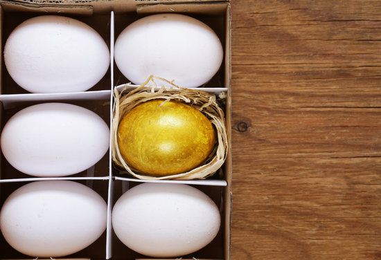 Learning more about autism every single day. One Unique golden egg and white eggs on a wooden background representing the uniqueness of individuals with autism