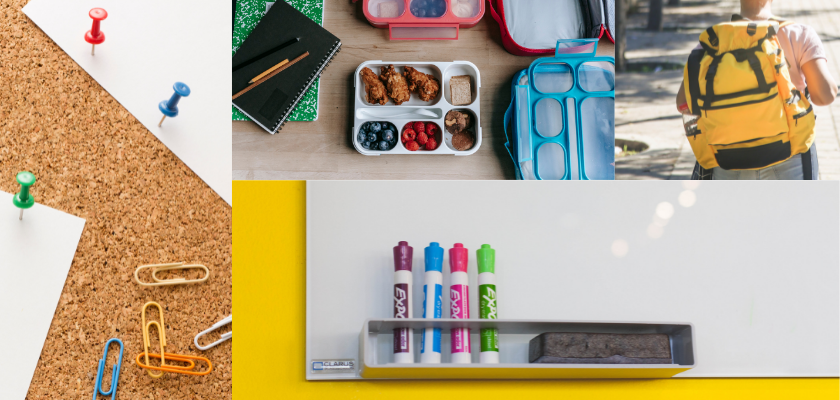 school supplies: pins, lunchboxes, dry erase markers, backpack.