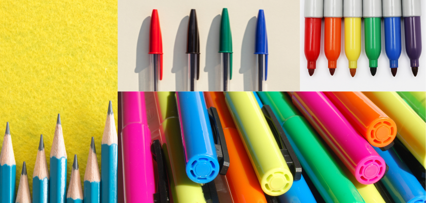 favorite school supplies: pencils, pens, sharpies, and highlighters
