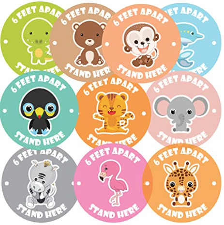 Recommended social distance stickers for floor.