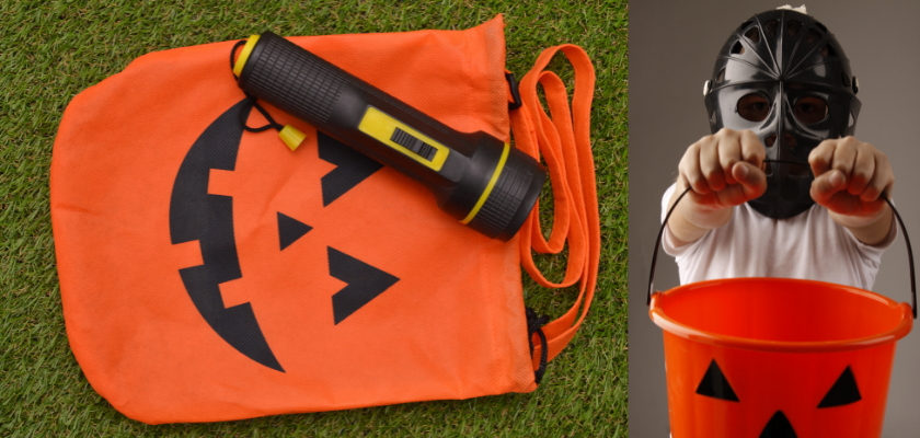 finding the perfect trick-or-treat bag and a kid holding a bag